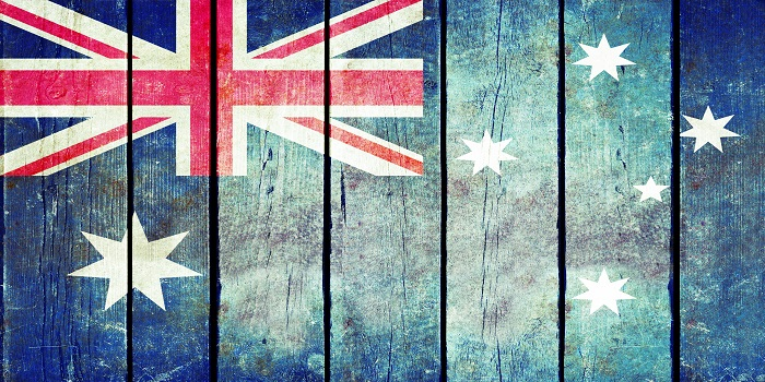 Australia wooden grunge flag. Australia flag painted on the old wooden planks. Vintage retro picture from my collection of flags.