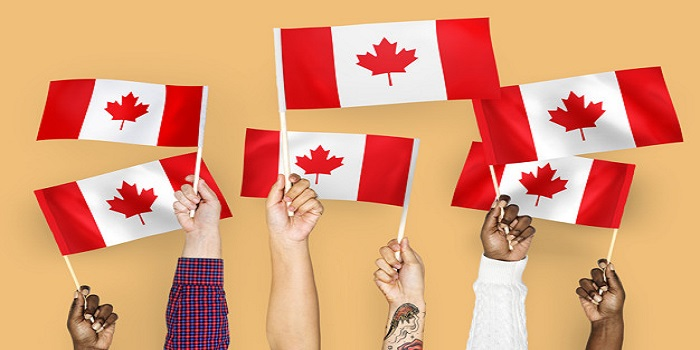 Hands waving flags of Canada