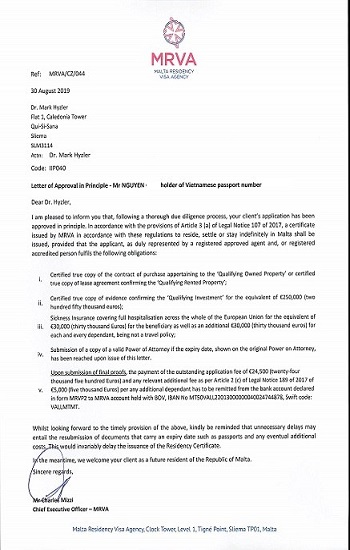 Malta Approval Letter _ Harvey Law Group
