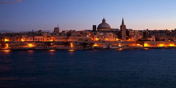 Night view of Valletta from Sliema (Malta)
